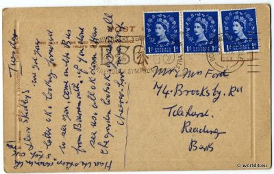Anchorhead Weston-Super-Mare, England. Back of Postcard. Autograph, England Stamps, Philately. Handwriting