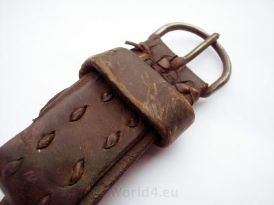 Antique leather strap. Farmers Tool. Handmade Leather Belt. Old Bavarian craft.