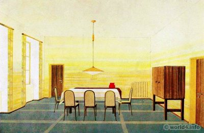 Dining room by Wilhelm Dechert. German Art Deco Interior design, architecture, decoration, Neue Sachlichkeit, Bauhaus, New Objectivity