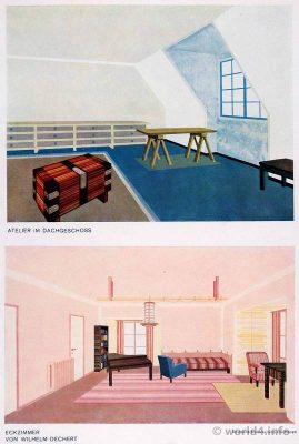 Studio on the top floor, corner room by Wilhelm Dechert. German Art Deco Interior design, architecture, decoration, Neue Sachlichkeit, Bauhaus, New Objectivity