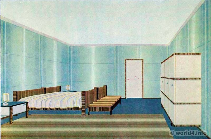1930s interior design. bedroom design by wilhelm dechert. art deco interior 1930s
