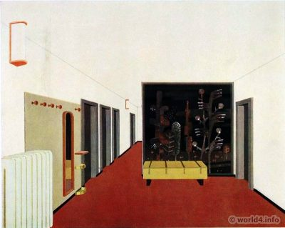 Corridor design. German Art Deco Interior design, architecture, furniture decoration, Neue Sachlichkeit, Bauhaus, New Objectivity
