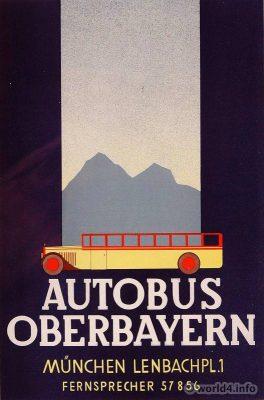 Art Deco Advertising poster. Autobus Oberbayern. München Lehnbachplatz.