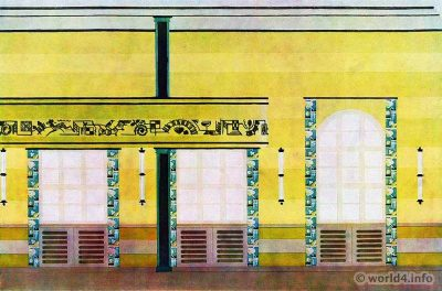 Social hall with a gallery of Josef Martl, Munich. German Art Deco Interior design, architecture, furniture decoration, Neue Sachlichkeit, Bauhaus, New Objectivity