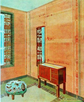 Living room. German Art Deco Interior design, architecture, furniture decoration, Neue Sachlichkeit, Bauhaus, New Objectivity