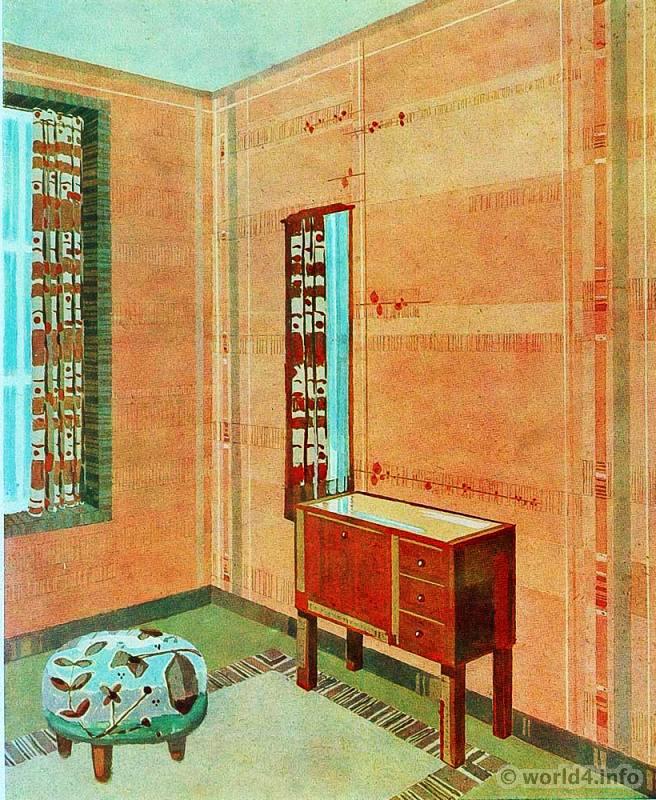 Living space design by Max Safft. Art Deco Interior 1930s