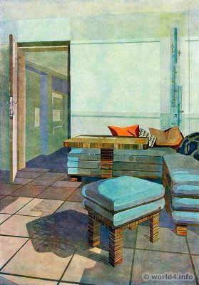 Livingroom by Max Safft. German Art Deco Interior design, architecture, furniture decoration, Neue Sachlichkeit, Bauhaus, New Objectivity