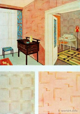 Living and working room by Josef Hillinger. German Art Deco, wallpaper, Interior design, architecture, furniture decoration, Neue Sachlichkeit, Bauhaus, New Objectivity