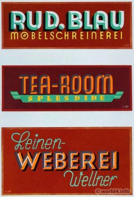 Advertising signs designs by E. Brügger, Berlin. Art Deco, design, Graphics, Typography