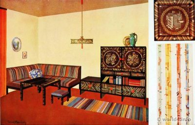 Vestibule or hallway design of Ernst Bauer. German Art Deco Interior design, wallpaper design, furniture decoration, Neue Sachlichkeit, Bauhaus, New Objectivity