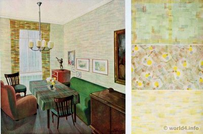 Living room, dining room by Ernst Bauer, Munich. German Art Deco Interior design, wallpaper design, furniture decoration, Neue Sachlichkeit, Bauhaus, New Objectivity