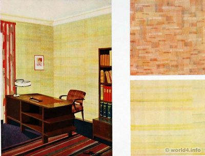 Office design ideas. German Art Deco Interior design, wallpaper design, furniture decoration, Neue Sachlichkeit, Bauhaus, New Objectivity