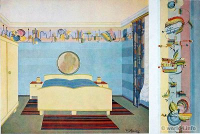 Bedroom design ideas. German Art Deco Interior design, architecture, furniture decoration, wallpaper design