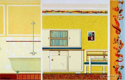 Kitchen and Bath design. German Art Deco Interior design, architecture, furniture decoration, Neue Sachlichkeit, Bauhaus, New Objectivity