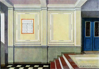 Entrance hall design. German Art Deco Interior design, architecture, furniture decoration, Neue Sachlichkeit, Bauhaus, New Objectivity