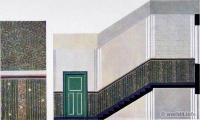 The stairwell by Otto Rückert. German Art Deco Interior design, architecture, furniture decoration, Neue Sachlichkeit, Bauhaus, New Objectivity