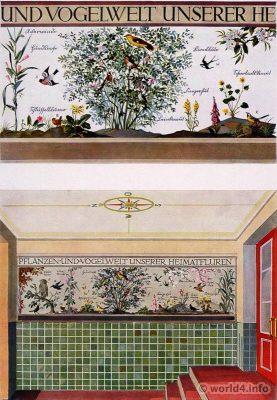 Entrance hall to the staircase. German Art Deco Interior design, architecture, furniture decoration, Neue Sachlichkeit, Bauhaus, New Objectivity