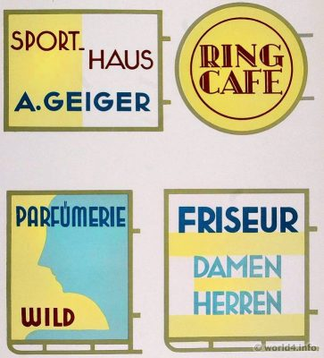 Design billboards glass transparencies. German Art Deco Interior design, architecture, furniture decoration, Neue Sachlichkeit, Bauhaus, New Objectivity