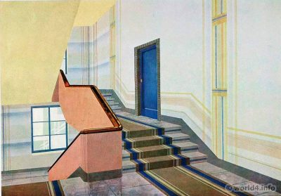 The stairwell. German Art Deco Interior design, architecture, furniture decoration, Neue Sachlichkeit, Bauhaus, New Objectivity