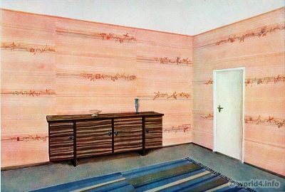 Living room by Georg Müller. German Art Deco Interior design, architecture, furniture decoration, Neue Sachlichkeit, Bauhaus, New Objectivity