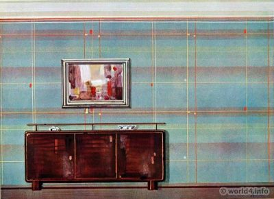 Wall of a living room of Gusto Kröner, Traunstein. German Art Deco Interior design, architecture, furniture decoration, Neue Sachlichkeit, Bauhaus, New Objectivity