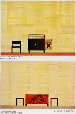 Wall of a living room. German Art Deco Interior design, architecture, furniture decoration, Neue Sachlichkeit, Bauhaus, New Objectivity