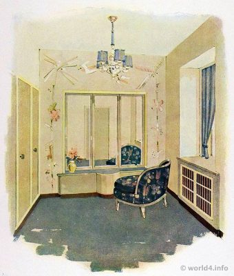 Dressing room by Wilhelm Dechert. German Art Deco Interior design, architecture, furniture decoration, Neue Sachlichkeit, Bauhaus, New Objectivity