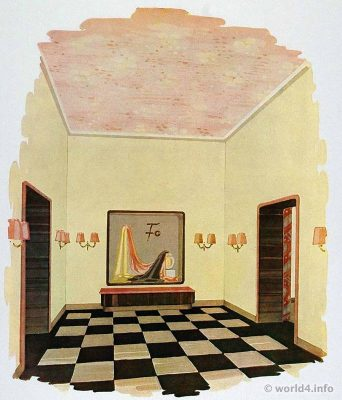 Anteroom of a fashion showroom. German Art Deco Interior design, architecture, furniture decoration, Neue Sachlichkeit, Bauhaus, New Objectivity