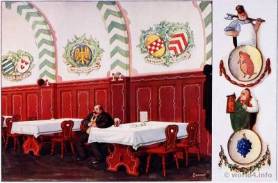 Bavarian restaurant, guest room design by Karl Sonnet, Olching. German Art Deco Interior design, architecture, furniture decoration, Neue Sachlichkeit, Bauhaus, New Objectivity