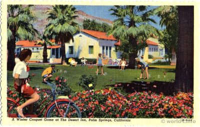 Collectible Vintage postcard by Stephen H. Willard.The Desert Inn, Palm Springs, California.