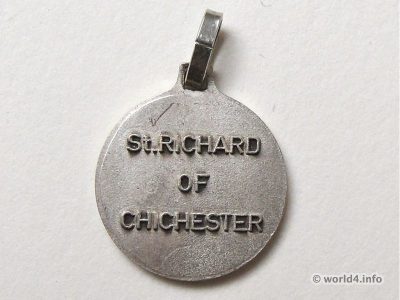 Patron saint Bishop St. Richard of Chichester. Jewelry silver pendant. Talisman.