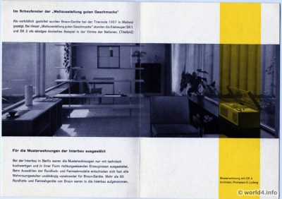 Milano Triennale Design 1957. Showcase of Nations. Braun Exhibition Germany. Interior design promotional brochure 1957.