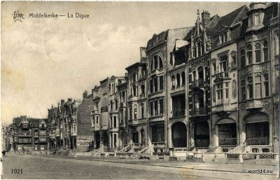 Middelkerke, La Digue, Belgium, Flanders 1924. Heliotypie de Graeve, Grand. Collectible Postcard, Art Nouveau architecture