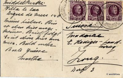 Philately, Belgium Stamps, Postmark, Middelkerke, La Digue, Belgium, Flanders 1924. Heliotypie de Graeve, Grand. Collectible Postcard, Art Nouveau architecture
