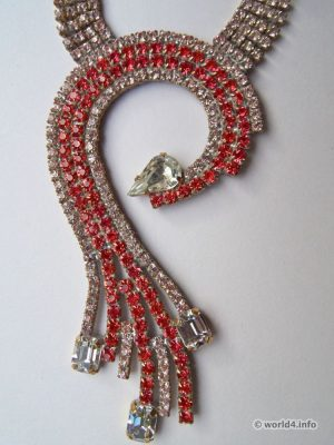 Rhinestone necklace. Art deco fashion jewelry from Gablonz.