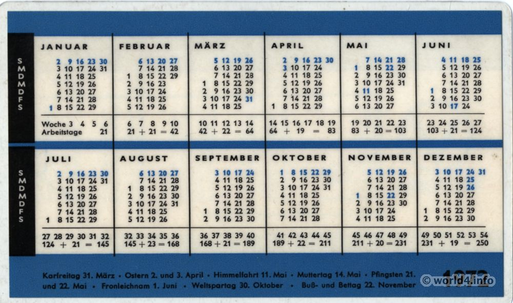 Deutscher Schul und Ferien Kalender. German school holidays and public holidays. Calendar 1971-72.