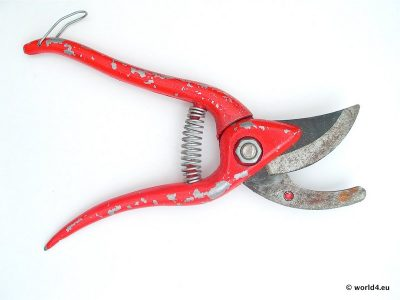 Old antique Hand pruner. Pruning shears, Secateurs, garden shears. Gardening scissor.