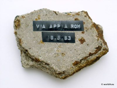 Vintage Mountain Stone - Memorial Souvenir from Via Appia, Rome, Italy. Collectible.