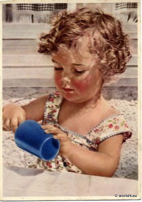 German child with toy 1940s. Vintage Picture postcard. Toddler girl at play. Old toy. Hairstyle in the 1940s and children dress