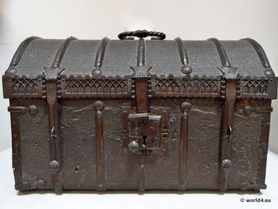 Renaissance travel suitcase. Middle ages furniture design. Ancient Flanders craftsmanship.