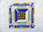 Glaced Greece Tile. Blue Ozean Motiv. Ornamental Wall and floor tiles. Greek souvenir