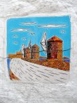 Glaced Greece Tile. Wind mills motiv. Ornamental Wall and floor tiles. Greek souvenir