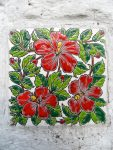 Glaced Greece Tile. Flowers Motiv. Ornamental Wall and floor tiles. Greek souvenir