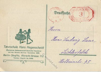 Announcement of Hans Hegenscheidt dance school, Berlin. SS Sergeant and member of the guards of the concentration camp Mauthausen.