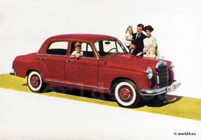 Mercedes-Benz 190 D. German car design. Advertising 1950s. Collectible Picture postcard.