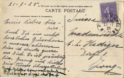 Back of Postcard with handwriting, French Stamp and Postmark. Sent to Zug in Switzerland.