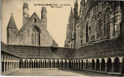 Le Mont Saint Michel - The Cloister. Le cloître. Collectible Postcard. France carte postal