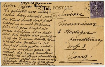 Le Mont Saint Michel - Back of the postcard with German handwriting, old stamp and postmark. Sent to Zug in Switzerland.