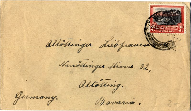 Old Letter From South Africa 1920 Posted To Alt 246 Tting In