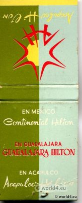Phillumeny Mexico Acapulco. Hotel Hilton, Collectible Matchbox